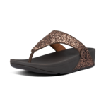 Fitflop Lulu Glitter Toe-Thongs Chocolate Metallic