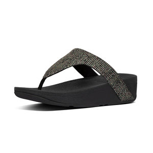 Fitflop Lottie Glitter Stripe Toe-Thongs Black